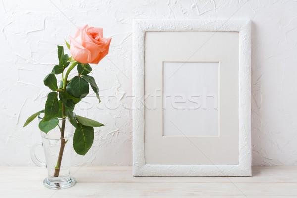 белый кадр сливочный Розовые розы стекла Сток-фото © TasiPas