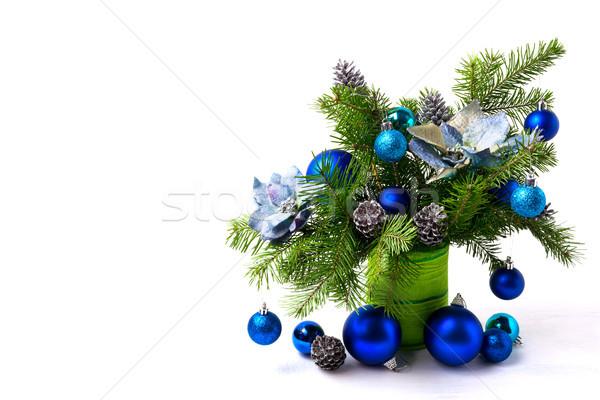 Christmas arrangement zijde Blauw exemplaar ruimte zilver Stockfoto © TasiPas