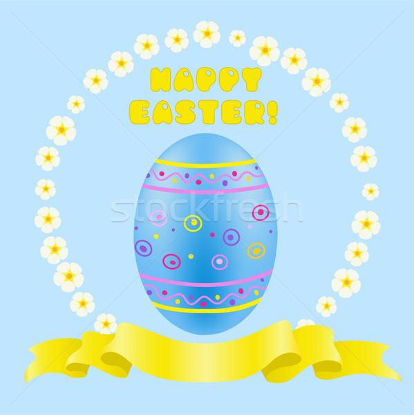 Easter blue painted egg and golden ribbon Stock photo © TasiPas