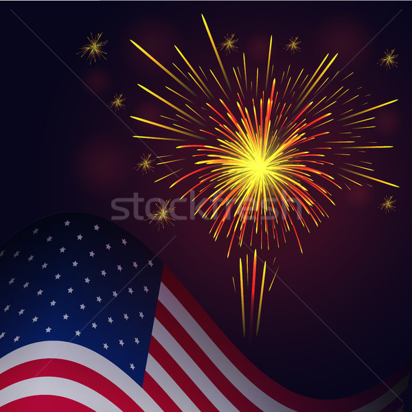 4th of July yellow red fireworks and flag Stock photo © TasiPas