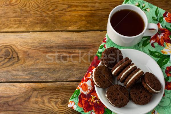 チョコレート クッキー サンドイッチ コピースペース 甘い デザート ストックフォト © TasiPas
