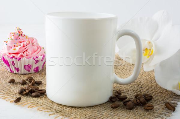 Kávésbögre vázlat muffin fehér bögre termék Stock fotó © TasiPas