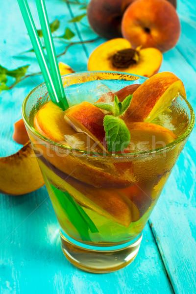 пить персики зеленый чай мята Сток-фото © TasiPas
