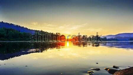 Yaz gün batımı pastoral nehir manzara göl Stok fotoğraf © TasiPas