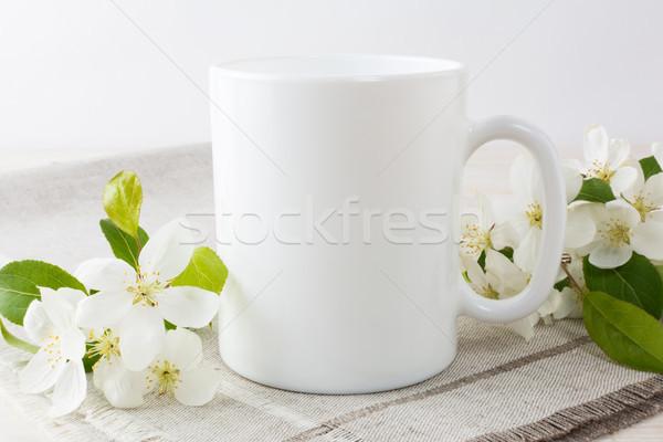 Fehér kávésbögre vázlat alma virág virágzó Stock fotó © TasiPas