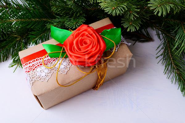 Рождества шкатулке украшенный кружево красный шелковые Сток-фото © TasiPas
