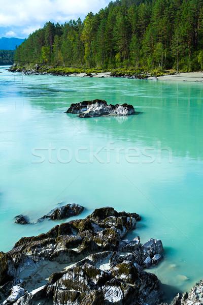 Fondo turquesa río vertical vista montanas Foto stock © TasiPas
