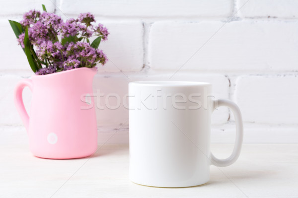 White coffee mug mockup with purple flowers in polka dot pink pi Stock photo © TasiPas
