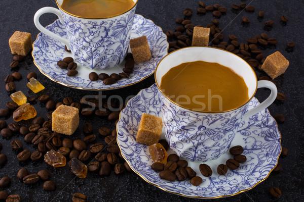 два кофейные чашки кофе черный Кубок кофе Сток-фото © TasiPas