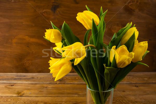 Sarı lale buket ahşap çiçekler kartpostal Stok fotoğraf © TasiPas
