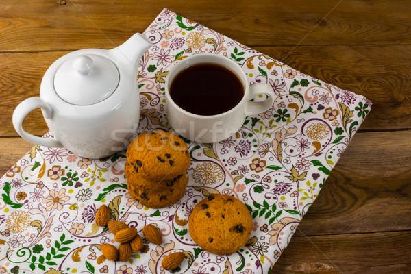 Desayuno té tetera cookies casero galleta Foto stock © TasiPas