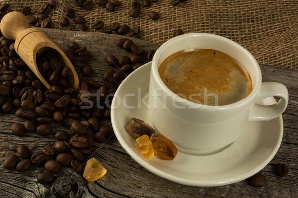 Tasse café cassonade matin pause café boire Photo stock © TasiPas