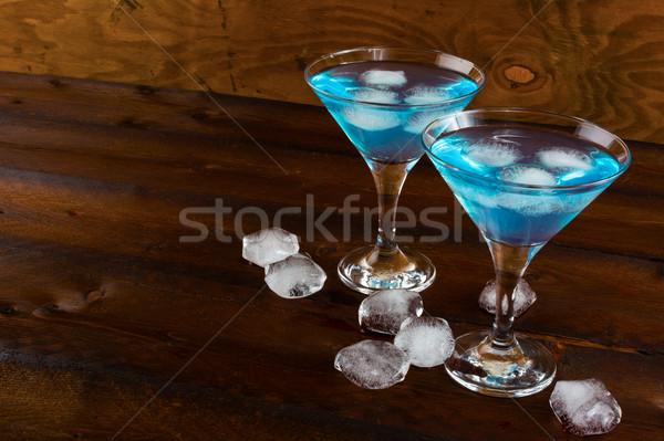 Mavi kozmopolit kokteyl buz Martini Stok fotoğraf © TasiPas