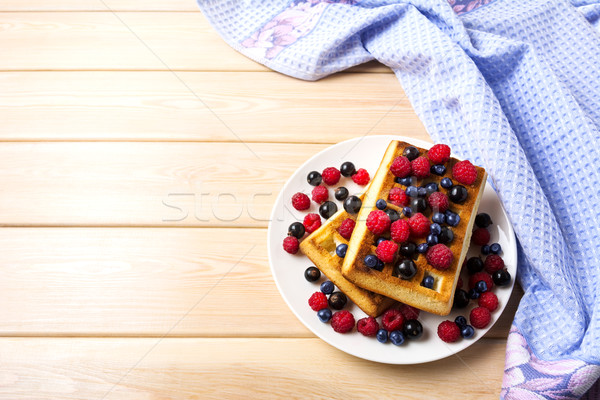 Stock photo: Soft Belgian waffles with blueberry, raspberry and blackcurrant