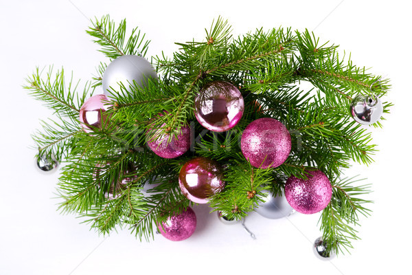Christmas background with pink and silver balls door wreath Stock photo © TasiPas