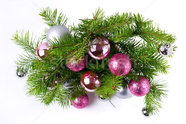 Natale rosa argento porta ghirlanda Foto d'archivio © TasiPas