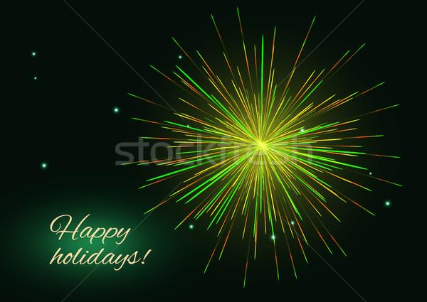 желтый зеленый вектора фейерверк приветствие место Сток-фото © TasiPas
