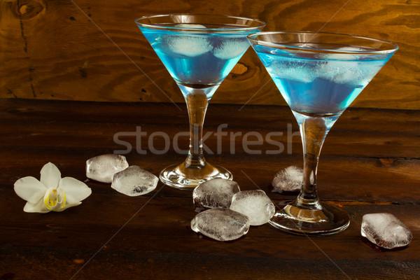 Azul licor martini óculos coquetel água Foto stock © TasiPas
