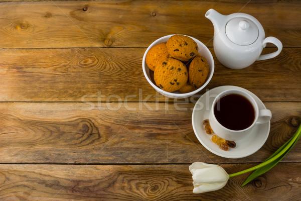 Kurabiye demlik ahşap bo kahvaltı Stok fotoğraf © TasiPas