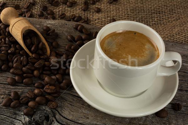 Koffiemok houten sterke koffie ochtend koffiepauze Stockfoto © TasiPas