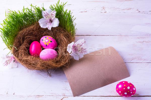 Paskalya yumurtası yuva beyaz çiçekler pembe yeşil taze Stok fotoğraf © TasiPas