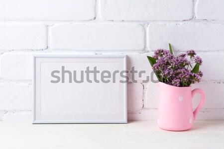 Fakeret vázlat lila virágok rózsaszín mező Stock fotó © TasiPas