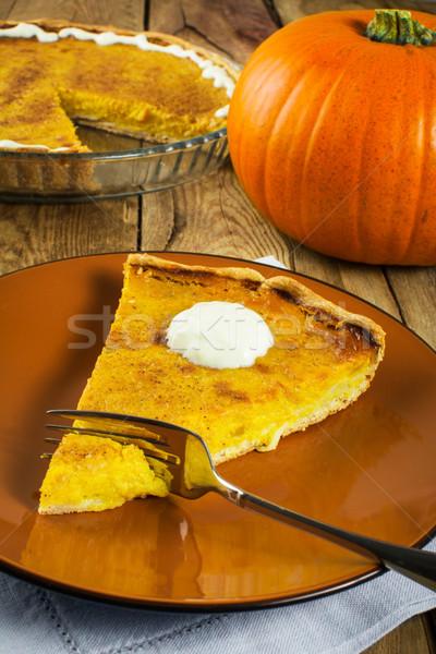 благодарение тыква пирог ломтик взбитые сливки коричневый Сток-фото © TasiPas