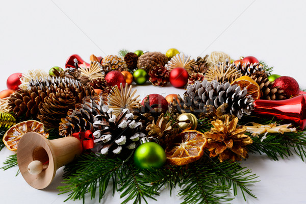 Christmas decoration with glass and wooden jingle bells Stock photo © TasiPas