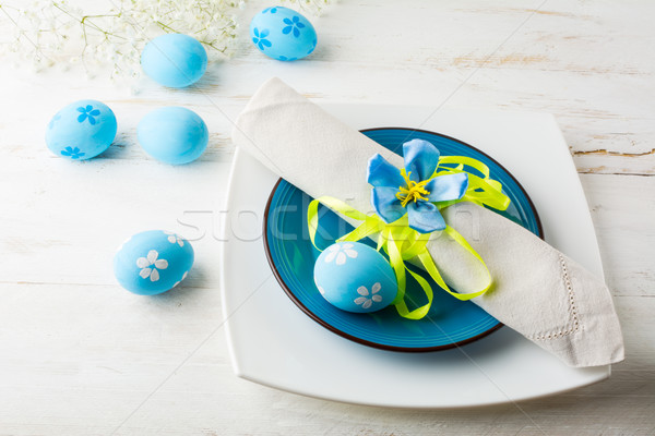 Blue Easter table place setting Stock photo © TasiPas