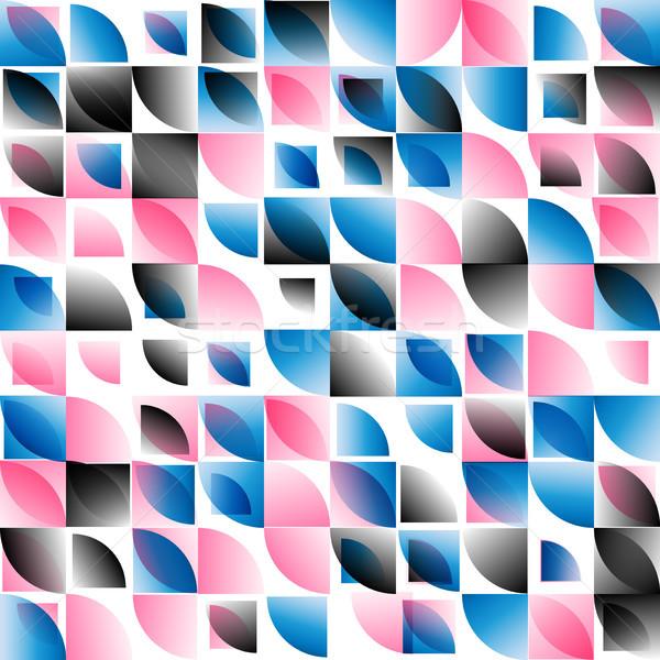 Mavi pembe siyah soyut mozaik vektör Stok fotoğraf © TasiPas