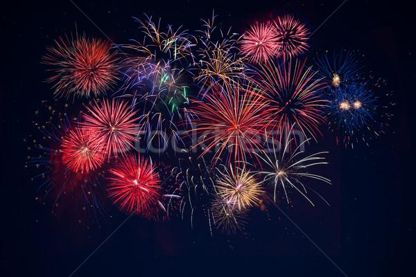 Photo stock: Belle · célébration · or · rouge · bleu