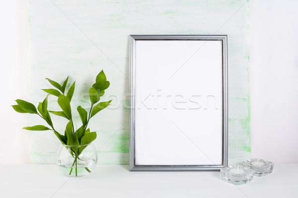 フレーム 薄緑 銀 ポスター 製品 ストックフォト © TasiPas