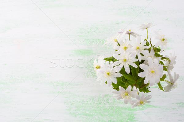 Witte bloemen boeket lentebloemen bloemen briefkaart groet Stockfoto © TasiPas
