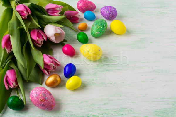 Húsvét vibráló festett tojások csillámlás lila Stock fotó © TasiPas