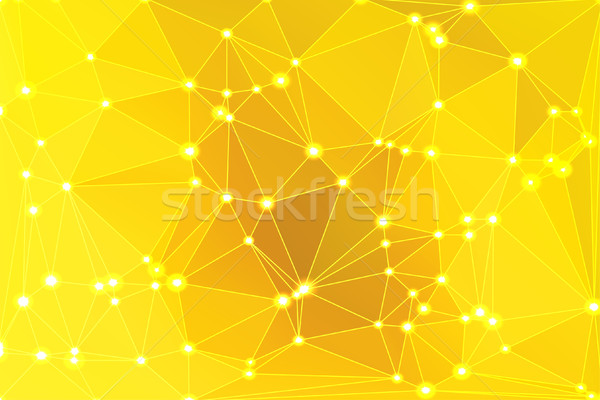 Bright golden yellow geometric background with mesh and lights Stock photo © TasiPas