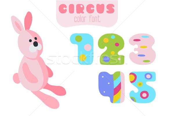 Cartoon style numbers 1, 2, 3, 4, 5 and pink rabbit  Stock photo © TasiPas