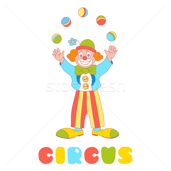Circus vector clown juggler isolated on the white  Stock photo © TasiPas