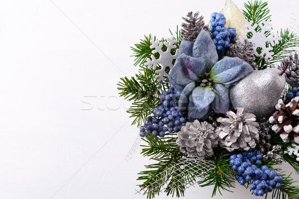 クリスマス 青 シルク 銀 グリッター 梨 ストックフォト © TasiPas