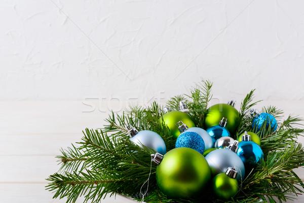 Noel tablo açık mavi parıltı yeşil süsler Stok fotoğraf © TasiPas
