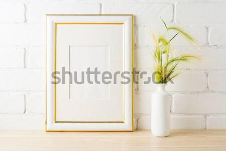 Bianco frame crisantemo vaso vuota Foto d'archivio © TasiPas
