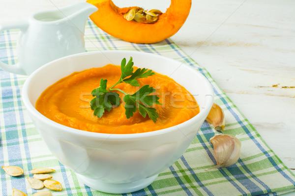 тыква сливочный суп белый чаши сквош Сток-фото © TasiPas