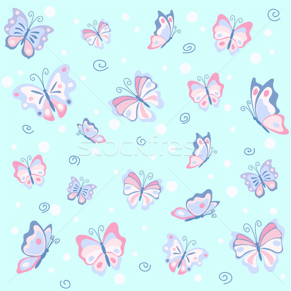 Stock photo: Pink butterfly in the blue seamless pattern