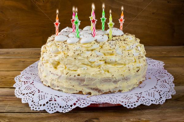 Torta di compleanno candele legno torta party frutta Foto d'archivio © TasiPas