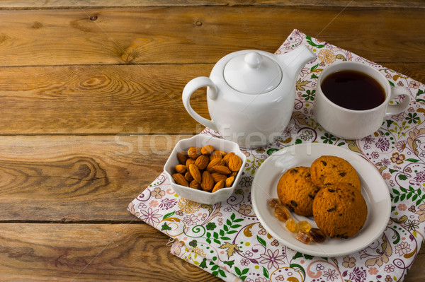 Theepot eigengemaakt cookies zoete dessert ontbijt Stockfoto © TasiPas