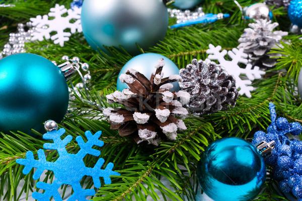 クリスマス 装飾された 松 ターコイズ 雪 ストックフォト © TasiPas