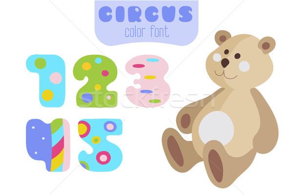 Cartoon style numbers 1, 2, 3, 4, 5 and teddy bear Stock photo © TasiPas
