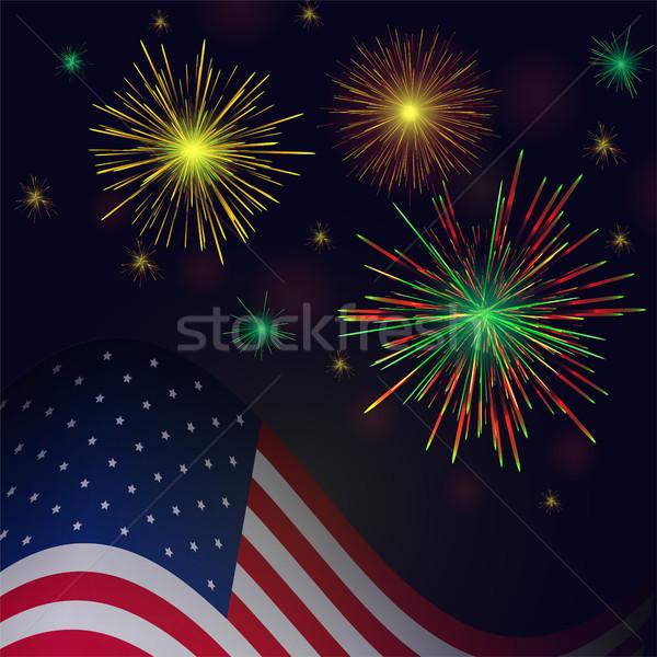 Nap vektor arany zöld tűzijáték amerikai Stock fotó © TasiPas