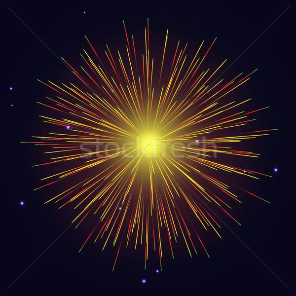 Yellow fireworks Independence Day background Stock photo © TasiPas