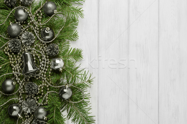 Christmas background with silver ornaments, copy space Stock photo © TasiPas