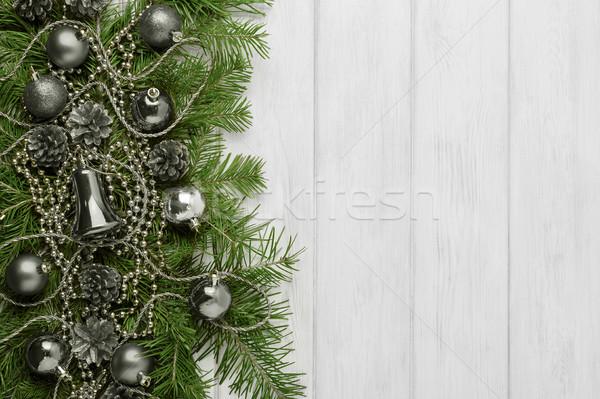 Foto stock: Navidad · plata · adornos · espacio · de · la · copia · decoración · abeto